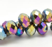 30 Multicolor AB Color Crystal Glass Faceted Rondelle Beads 8mm